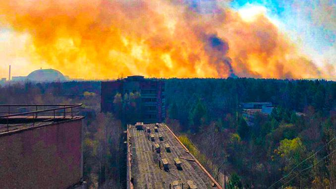 Пожар в Чернобыле, Чернобыльская зона отчуждения, ЧАЭС, лесной пожар