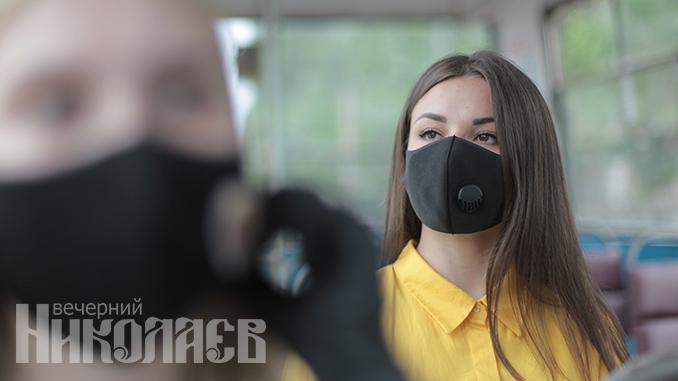 Карантин в Николаеве, защитная маска, коронавирус, общественный транспорт (с) Фото - Александр Сайковский, ВН