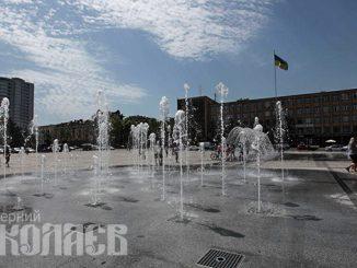 Соборная площадь, Николаев, фонтаны, Серая площадь, лето, погода в Николаеве (с) Фото - Александр Сайковский, ВН