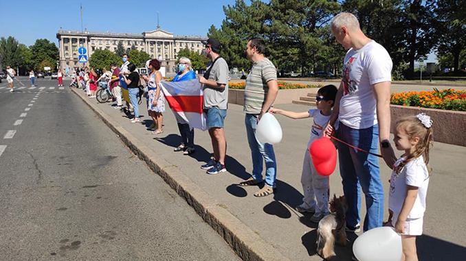 Жыве Беларусь, Николаев, белорусский флаг, акция