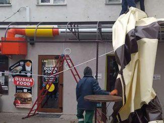 На Московской демонтировали летнюю площадку кафе, Николаев