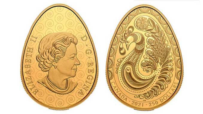 Монету в форме писанки, Канада, новости, Королева, Елизавета II, монета, писанка, золото