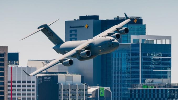 Самолет, Австралия, небоскребы, Брисбен, авиация