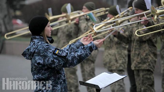 Уличный концерт-реквием сборного военного оркестра Николаевского гарнизона